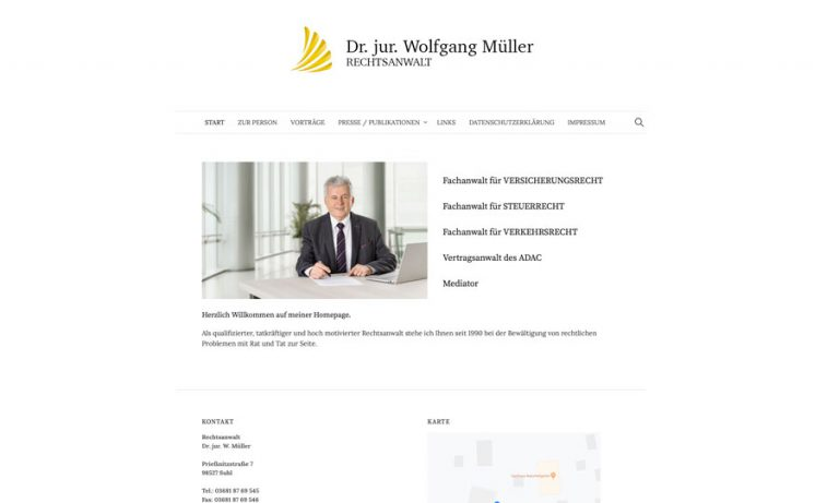 Internetseite Rechtsanwalt Dr. jur. W. Müller